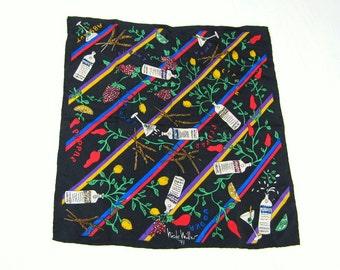 """Vintage ABSOLUTE VODKA Nicole Miller Designer Silk Scarf  16"""" Sq."""