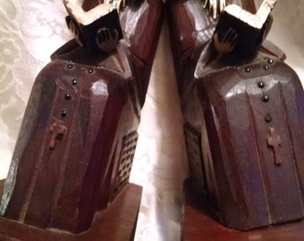 Friar Bookends / Carved Wooden Priests Bookends