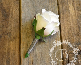 Boutonniere - white rose bud, groom boutonniere, groomsmen boutonniere, father of the bride or groom, handmade, silk flowers