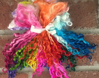 Teeswater Locks, Long, Dyed, Tailspinning, 2 ounces, Doll Hair, Spin, Felt, Fleece, Teeswater Rainbow