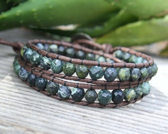Mens Beaded Wrap, Vegan Wrap Bracelet, Double Wrap Bracelet, Serpentine Bracelet, Mens Jewelry, Beaded Wrap Bracelet, Gifts for Him