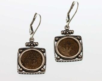 sterling silver earrings, ancient coin earrings, widow's mite earrings, silver dangle earrings