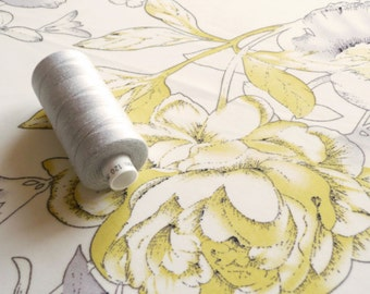 Yellow & Grey Floral Chiffon fabric - subtle flowers print on a cream / ivory background - Sold by the metre