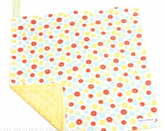 """Baby Lovey Blanket - Yellow and Multicolor Buttons Lovey 15""""x15"""" - Ready to Ship"""