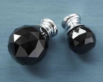 Black Faceted Crystal Glass Cupboard Door Knobs