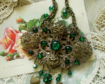 Victorian Sash Buckle Assemblage Necklace with Green Vintage Crystals and Heart Dangles