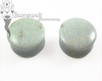 """Amazonite Double Flared Plugs 25mm (1"""") for Stretched Ears Piercings Handmade - Ready to Ship"""