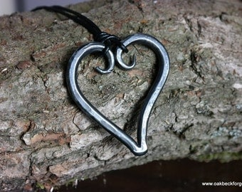 Heart Necklace - Blacksmith Hand Forged - Valentine's Day