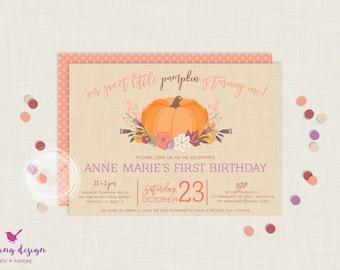Little Pumpkin Invitation Set   Pumpkin Birthday Invitation   First Birthday Invitation   Fall Birthday Invitation   Photo Invitation
