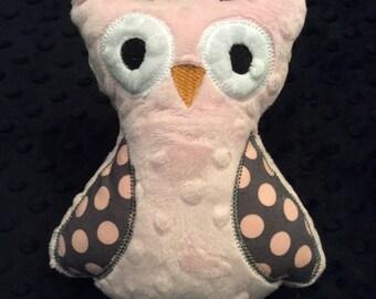 Baby Pink Minky Owl, CLEARANCE SALE