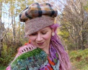 Newsboy hat woman Plaid cap Woman plaid hat Woman cap Tartan hat Plaid hat Tweed cap Woman hat Fabric hat Tweed hat ON SALE