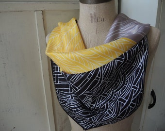Vintage acetate scarf with bold geometric design yellow black and gray  26 x 26 inches