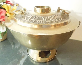 Reserved for Catherine Korean Hot Pot, Large Brass Hot Pot, Asian Brass Cooker, Chinese Fondue Steamboat, home decor