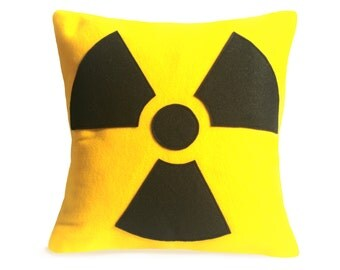Radiation Hazard Warning - 18 inches - Bright Yellow and Black Eco-Felt Appliqued Throw Pillow Cover
