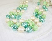Vintage Champagne Aqua Pale Green Bead Necklace Vintage Green Art Glass Necklace Three Strand Spring Necklace