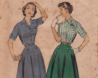 "RARE 50s Size 18 Skirt, Shirtwaist Blouse & Dress Vintage Sewing Pattern - Advance 8413 - Bust 38"", Partially Cut, Complete"