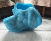 Blue Milk  Glass Labrador Retriever Toothpick Holdet