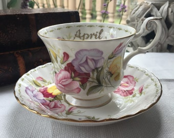 Royal Albert Flower of the Month Teacup and Saucer Set April Sweet Pea
