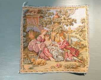 Small French Tapestry, Victorian Scene, Ready for Framing or Craft