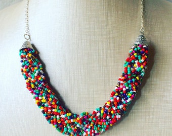 Beaded Rainbow Statement Necklace - Everyday bib Colorful Seed Bead - Silver Chain Bridesmaid Wedding jewelry