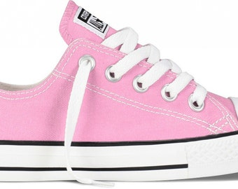Kids Pink Low Top Converse Youth Girls Childrens w/ Swarovski Crystal Rhinestone Jewels Bling Chuck Taylor All Star Sneakers Shoes
