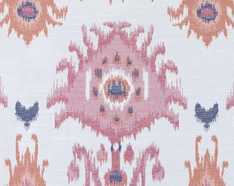 Navy Coral Upholstery Fabric - Modern Pink Ikat Fabric for Furniture - Pink Ikat Roman Shade Fabric - Pink Navy Blue Pillows - Modern Fabric