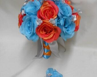 Wedding Silk Flower Bridal Bouquet 2 pieces Pool Malibu Blue Orange Rose Silver Babie's Breathswith one Boutonniere FREE SHIPPING