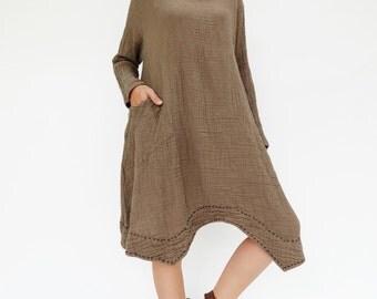 NO.201 Brown Double Cotton Gauze Long Sleeves Tunic Dress, Boat-Neck Dress, Stitch  Detail Tunic, Women's Tunic