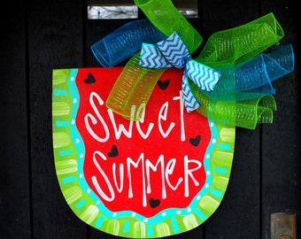 Summer Wreath, Watermelon Wreath, Watermelon Decor, Summer Door Hanger