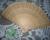 Vintage Wooden Hand Held Fan Carved Natural Balsa Wood Folding Fold Out Oriental Green Tassels