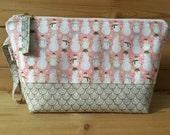Clearance - 50% Off - Sock Knitting Project Bag - Zipper Pouch - Pink Snowmen