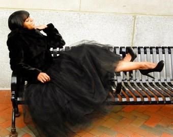 Tulle Skirt - Black,  Adult Tutu, Long Tulle Skirt, Tutu Skirt, Adult Tulle Skirt, Engagement Skirt, Cute Skirt, Tüllrock, Tutu