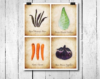 Garden Art - Garden Print - Vegetable Print - Botanical Print - Vegtable Picture - Garden Picture - Garden Gift - Mother's Day Gift