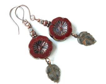 Red flower earrings maroon Picasso Czech glass & antiqued copper beads leaves