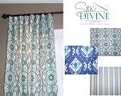 New Ocean Ikat Curtain Panels, two panels