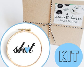 Sh*t Modern Cross Stitch Kit - easy chart design - rude offensive funny DIY gift - mature cross stitch swear words bad taste embroidery kit