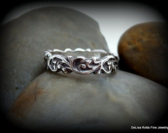 Recycled Silver Ring,  Renaissance Romance Collection, Wedding Band, Gift, Fashion Ring