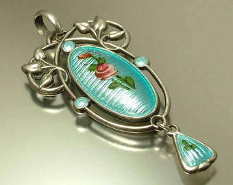 Antique vintage Art Nouveau 1900s Charles Horner, sterling silver and pale blu enamel flower pendant / necklace - jewelry jewellery