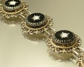 Vintage/ estate, 1950s / 60s, Mexican sterling silver 925 filigree and black glass bracelet - jewelry jewellery