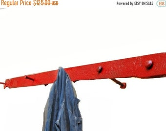 Clearance Industrial Coat Hook / Rack, Iron, Salvaged Vintage Home Wall Decor, Rustic Red