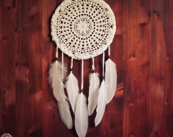 Large Dream Catcher - Pure Mandala - Unique Dream Catcher with White Handmade Crochet Web and White Feathers