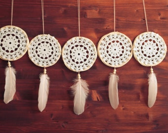 Wholesale!!! 5 Crochet Dream Catchers - Boho Home Decor, Wedding Decoration - Bridesmaids Gift, Bridal Gift Idea