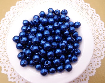 SALE--100pc 8mm Faux Pearl Beads,Royal Blue Plastic Beads