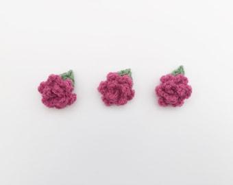 crochet flowers, pink crochet flowers, rose flower appliques, mini crochet flowers