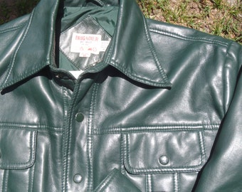 Vintage 1970s Kelly Green Vinyl Jacket with Snap Front XL