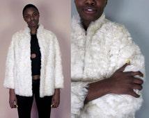 White Fur Coat Lamb Fur Coat Real Fur Coat Vintage Mongolian Fur Coat Mongolian Lamb Fur Curly Lambs Wool 70s Clothing Medium Large M L