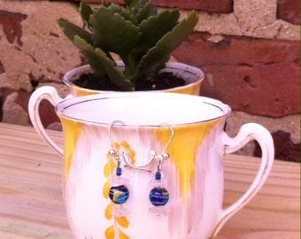 glass bead earth earrings