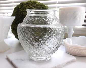 Vintage Clear Patterned Glass Globe, Porch Light Cover, Hall, Closet Light Cover