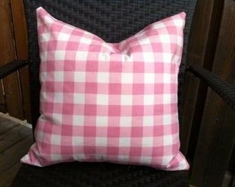 Pink and white large gingham check pillow cover