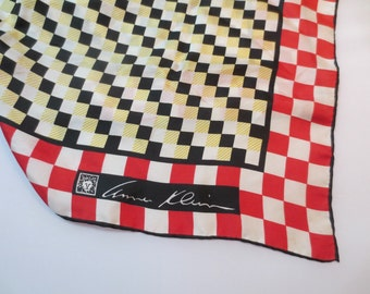 "Vintage Silk Scarf by Anne Klein for Robinson & Golluber, 26"" by 26"" Made in Japan, Red/White/Black/Yellow, a few small stains"